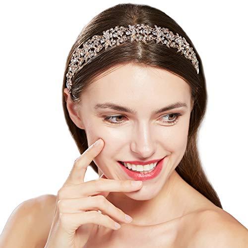 ArtiDeco Braut Haarband Silber Kristall Blinkender Braut Haarschmuck Handgefertigtes Vintage Braut Stirnband Braut Hochzeit Accessoires Party Stirnband (Rose Gold)