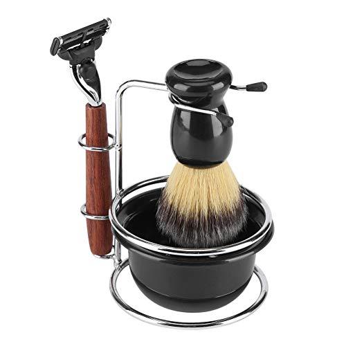 Fdit Kit de Afeitado de 4 Piezas con maquinilla de Afeitar Manual, Soporte de Acero Inoxidable, Cepillo y Juego de brochas de Afeitar para Hombres, Afeitado en húmedo