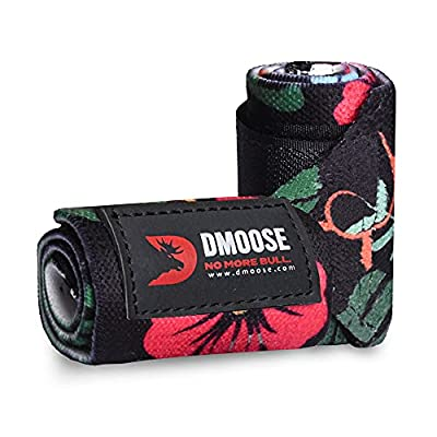 DMoose Fitness Wrist Wraps for Weightlifting, Powerlifting, Strength Training, Benching, Bodybuilding, MMA and Crossfit, Thumb Loops with Adjustable Straps, Men and Women (Aloha Black, 12 Inches)