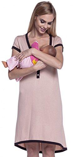 HAPPY MAMA. Femme Maternité Chemise Nuit Nuisette Grossesse et Allaitement. 981p (Beige & Chocolat, 44-46, 3XL)