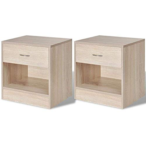 Shelf Bedside Table Set of 2 Wooden End of Sofa Side Table with Drawer and Open Storage Coffee Table Cabinet Decoration for Bedroom Living Room Hallway Office 36.5 x 30.5 x 38 cm Shelf Brackets