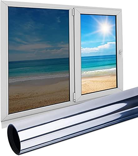 BIAOQINBO Fensterfolie Sonnenschutz Selbsthaftend Wärmeschutzfolie 99% Anti-UV Schutz, Reflektierende Spiegelfolie Schutz Privatsphäre Für Zuhause Büro ,40 *200 cm-Silber