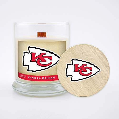 Worthy Promo NFL Kansas City Chiefs Gifts 8oz Scented Candle Soy Wax w/Wood Wick and Lid, Vanilla Balsam