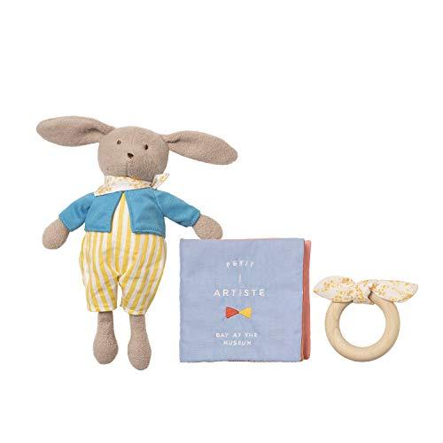 Manhattan Toy - 217860 - Petit Artiste - Coffret Cadeau Apaisant Bébé - Livre Doux et Dentition en Bois - Version Anglaise