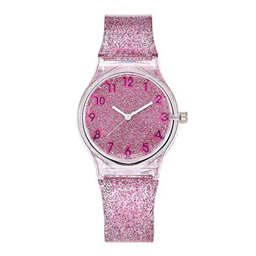 Hemobllo Armbanduhr Bunt Glänzende Glitzer Mädchen Uhr Kreative Uhr mit Silikonstreifen Quarzuhr Zeitmaschine Handgelenk Dekoration für Kinder Kinder Mädchen Damen (Rose)