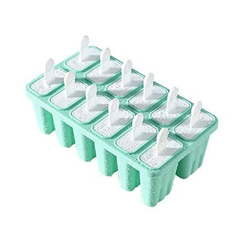 Silikon Eisformen 12 Stück,Formen Schalen Eisform Eis am Stiel Form,Umweltschutz,Umweltschutz,Kinder Baby DIY Eisförmchen für Fruchtsaft,Püree,Eiskaffee,Früchten,Pudding,Eisbier ,Strandpartys