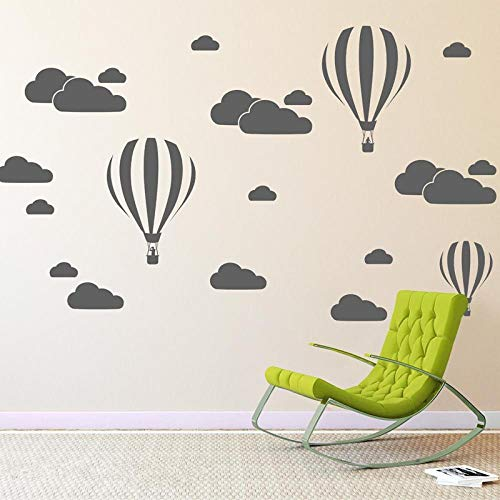 cooldeerydm Cloud Helium Ballon Muurstickers voor Kinderkamers Vinyl Home Decor Kwekerij Decoratie Slaapkamer DIY Mural Verwijderbare Cartoon N824@White_79x57cm
