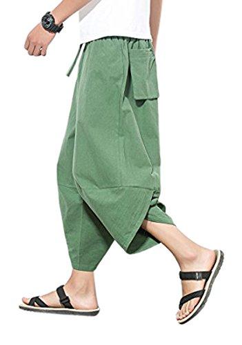JOSCA サルエルパンツ メンズ アラジンパンツ ダンス カジュアル ポケット付き ゆったり ヒップホップ クロップドパンツ スウェット コットン 無地 大きサイズ対応 ユニセックス