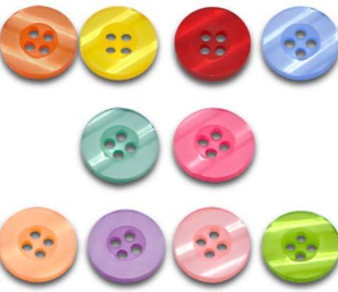 Handarbeit-Lieblingsladen 100 Stück Bunte Harzknöpfe 15mm 4-Loch rund im Mix - Knöpfe Kinderknöpfe Knopf aus Harz 4-Loch-Knöpfe Bastelknöpfe zum basteln annähen Nähen an Kinderkleidung
