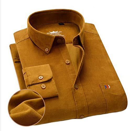 ARbuliry Herren Baumwollhemden Cord Langarmhemd mit Tasche, einfarbig lose Oberteile Revers Vollknopf Freizeithemden