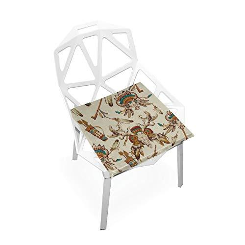 Tribal Wild Fun Cartoons Benutzerdefinierte Weiche rutschfeste quadratische Memory Foam Chair Pads Kissen Sitz für Home Kitchen Esszimmer Büro Rollstuhl Schreibtisch Holzmöbel Indoor 16 X 16 Zoll