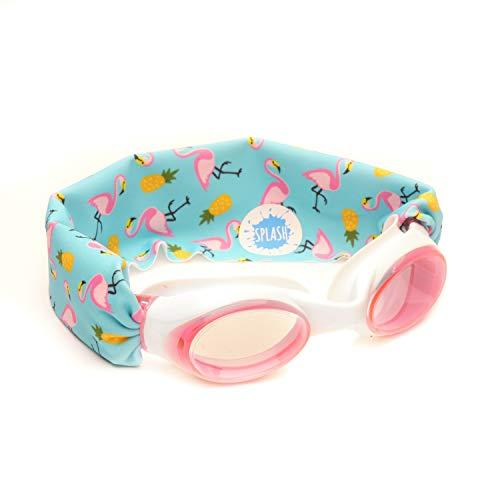 Splash–Neón Flamingo nadar gafas–cómodo, moderna, divertida–para niños & adultos–no tirar de su pelo–fácil de usar–Alta visibilidad antivaho–Pendiente de Patente