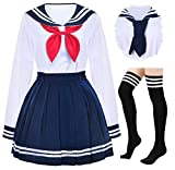 Japanese School Girls Uniform Sailor Navy Blue Pleated Skirt Anime Cosplay Costumes with Socks Set(SSF13) L(Tag XL)