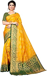 Neerav Exports Banarasi Silk With Rich Pallu Traditional Jacquard Saree (Yellow)