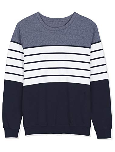 Lars Amadeus Men's Color Block Sweatshirt Round Neck Long Sleeves Patchwork Pullover Jumpers Small Blue White Navy