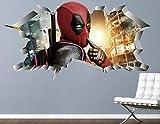 AUUUA Wandtattoos Wandaufkleber Deadpool Comic Spaß Dekoration Wandaufkleber Kinder gebrochen Vinyl Aufkleber 3D Art