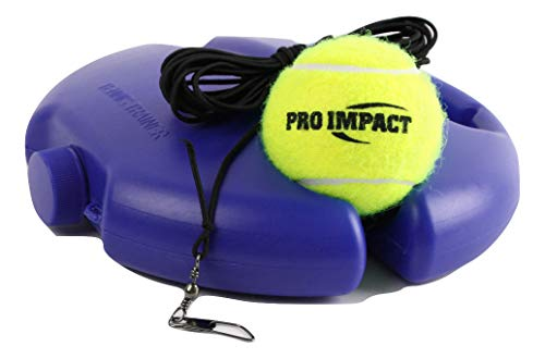 Pro Impact Tennis Trainer Rebounder Ball, Trainer Cemented Baseboard with Rope, Perfect Solo Tennis Trainer Blue Round