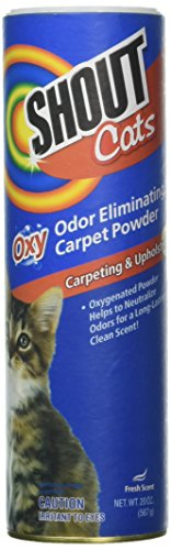 SHOUT for Pets Turbo Oxy Carpet Odor Eliminator Powder | Best Cat Odor Remover For All Pet Stains, 18 ounces, Fresh Scent