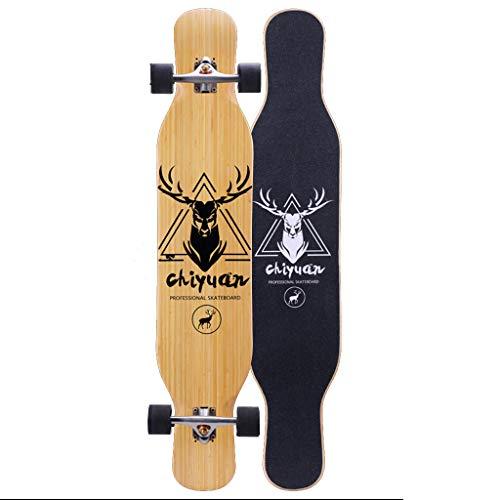 HYE-SPORT Bamboo Pro Dancing Longboards Skateboard 46 Pulgadas de Velocidad Completar desplegable a través de la Cubierta 4 Ruedas para tallar Downhill Cruising Estilo Libre
