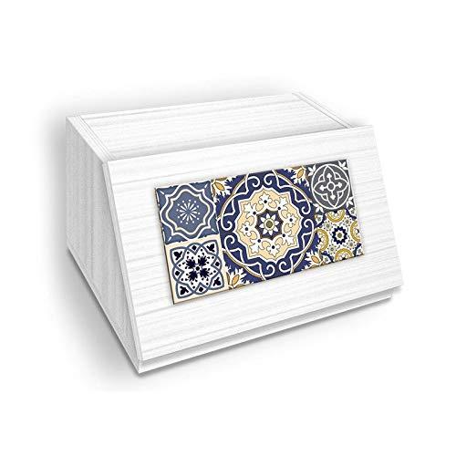 Portapane NEW, Contenitore per Cibo Secco con decoro AZULEJOS BLUE in legno WHITE 30x40x20 cm