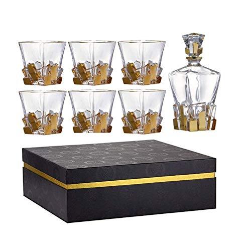 Étagère à bouteilles,Etagère à vin Ensemble de whisky cristal sans plomb 7 pièces - Gobelet à carrefour et lunettes de whisky avec 6 verres de verre pour les spiritueux, Bourbon ou Scotch Boîte cadeau