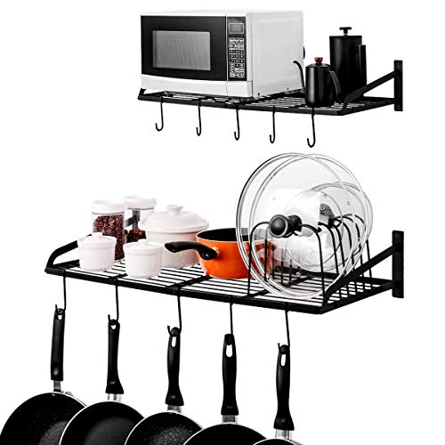 Organizador / Estante para ollas y tapas con soporte de pared, con 10 ganchos. Para el hogar, restaurante, utensilios de cocina, utensillos varios, los libros, 2 paquetes al servicio del hogar