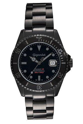 Gigandet Reloj de Hombre Automático Sea Ground Reloj de Buceo Analógico Correa de Acero Negro G2-010