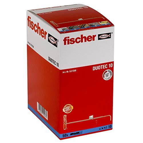 fischer S-Kippdübel zum Befestigen von Garderoben, Hängeschränken UVM. in Gipskarton-und Gipsfaserplatten-50 Stück-Art-Nr. 537258, Plastik, grau/rot, DUOTEC 10, 50