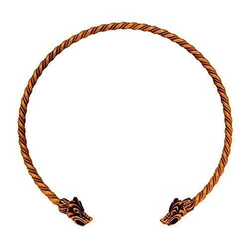 Battle-Merchant Torques - Wikinger Halsreif aus Bronze, gekordelt Bronzehalsband Gothic Halsband LARP Kette Wikinger