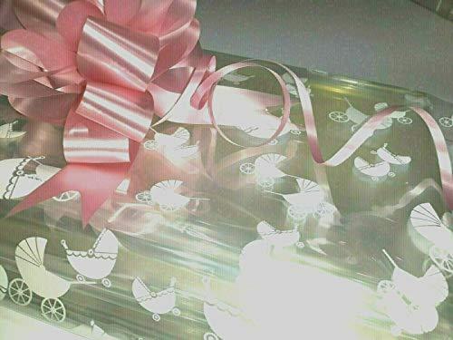 2 bolsas de celofán grandes transparentes para cochecito de bebé y 2 lazos rosados para celofán