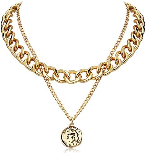 FAMARINE Gold Choker Chain Cuban Link Necklace for Women 4MM Brandy Coin 2 Layered Necklaces product image