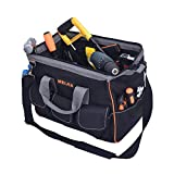 MEIJIA Heavy Duty Tool Bag,14-Inch Wide Mouth Canvas Tool Organizer With Adjustable Shoulder Strap