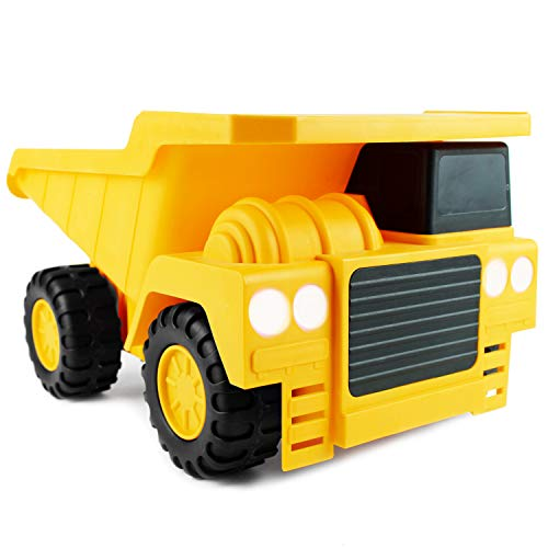 Boley Large Jumbo Dump Truck Construction Vehicle - 18' Button-Activated Light & Sound Construction Toys with Moveable Load Container, Perfect Car Truck Toy for Toddler Boys Girls Kids