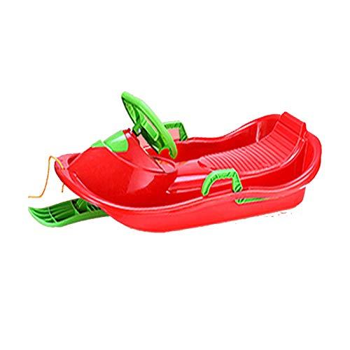 Waniyin Trineos de nieve para niños, tabla de esquí con volante, trineo de alta resistencia, grandes trineos de nieve, actividades al aire libre, arena, hierba, toboganes, cuerda, trineo, trineo de pl