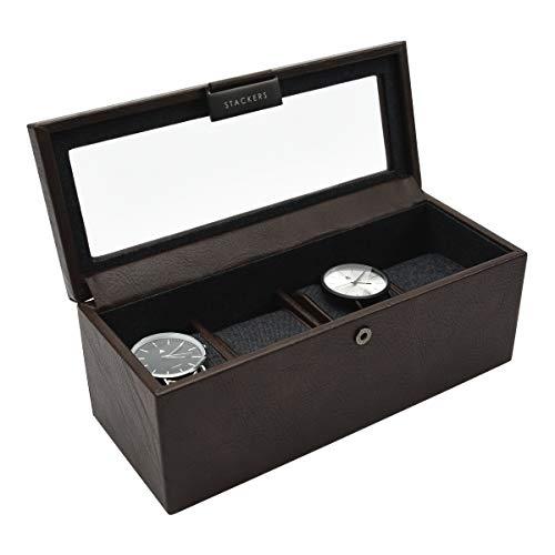 Stackers Uhrenbox für Herren, Kunstleder, braun, 4 Stück