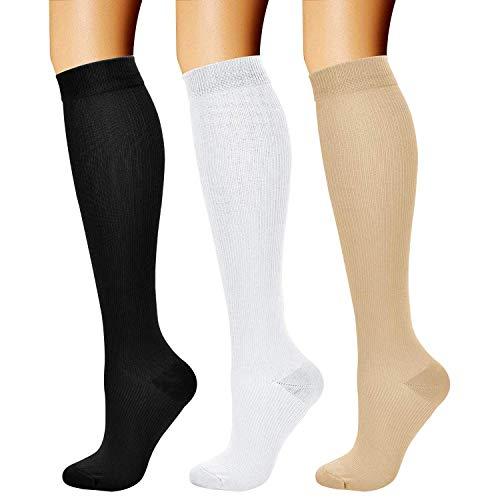 Eokeanon 3 Pares Rodilla Alta Medias, Calcetines de Compresión para Hombres y Mujeres 15-20 mmHg, es el…