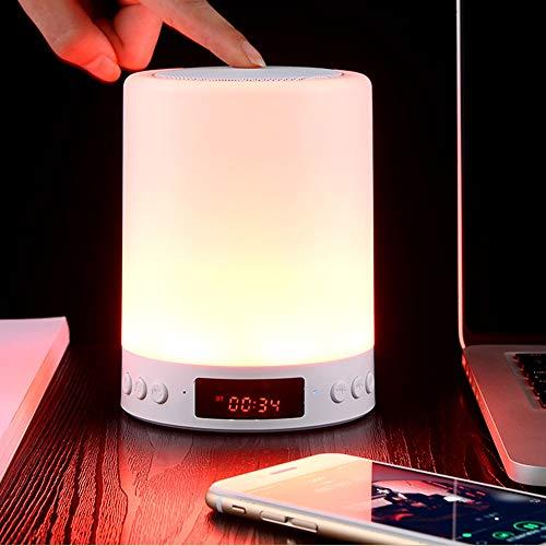 Klok Lamp Luidspreker, WRDLOSY Touch Klok Tijd Lamp Sensor Licht met Bluetooth Luidspreker, Leven Warm Licht & RGB LED Kleur Veranderende Draadloze Luidspreker Licht met Alarm Klok FM Radio Geschenken voor Thuis