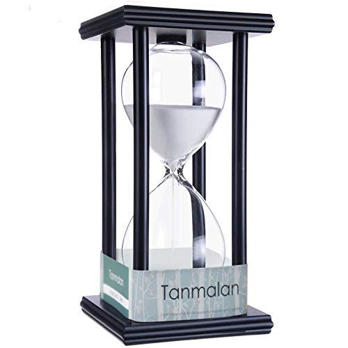 Daya Fashion Tanmalan Hourglass Sand timers (White Sand,Black Frame,60min)