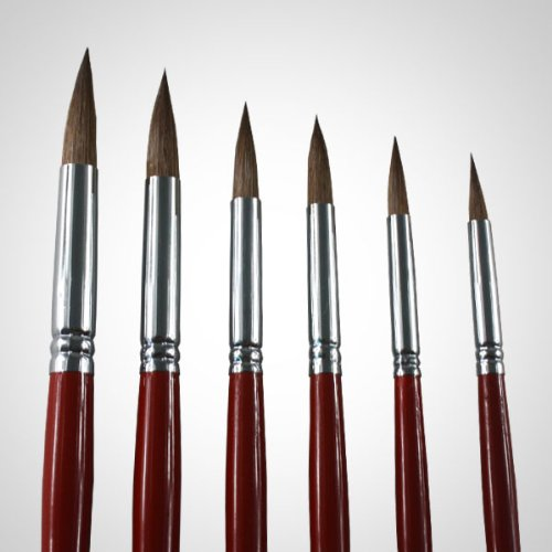Artist Round Brushes - Top Quality Red Sable (Weasel Hair) Long Handle, Round Paint Brush Set for Watercolor, Acrylic and Oil Painting. Weasel Hair Offers Excellent Paint Holding Capacity & Easy Flow