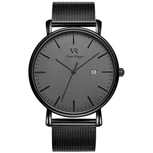 Vigor Rigger Reloj de Cuarzo para Hombre y Mujer, Reloj de Pulsera Ultra Fino Negro para Hombre con Diseño Minimalista clásico con Calendario de Fecha y Correa de Acero Inoxidable
