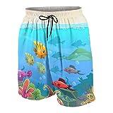 Traje de baño para Hombres Personalizado,Divertido Paisaje Submarino de Dibujos Animados con Varios Animales y cofres del Tesoro,Shorts de baño de Secado rápido para Playa XXL