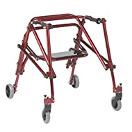 Inspired by Drive Nimbo 2G Lightweight Posterior Walker with Seat, Castle Red, Medium