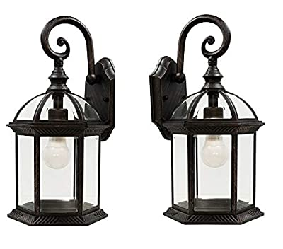 Wall Lanterns | Weather-Resistant Outdoor Lamps | Decorative Scroll Sconce Arm, Scalloped Edges & Clear Beveled Glass for Front Porch, Backyard & Gardens (Rust 2 Pack)