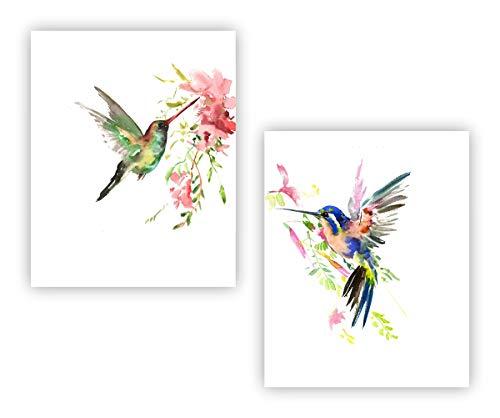 "Abstract Birds Art Print Set of 2(8""x10""Watercolor Hummingbirds Art Print Hummingbird Wall Decor for Home Bathroom Kitchen (Unframed)"