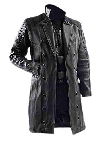 Vicenzia Leder Mens Langer Mantel | Adam Jensen Deus Ex Human Revolution Spiel Trenchcoat (XXL)