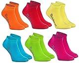 Rainbow Socks - Jungen & Mädchen Sneaker Socken Baumwolle - 6 Paar Multipack - Orange Rot Gelb Blau Grun Rosa - Größen 30-35