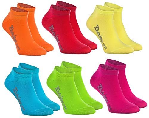 Rainbow Socks - Jungen und Mädchen Sneaker Socken Baumwolle - 6 Paar Multipack - Orange Rot Gelb Blau Grun Rosa - Größen 24-29