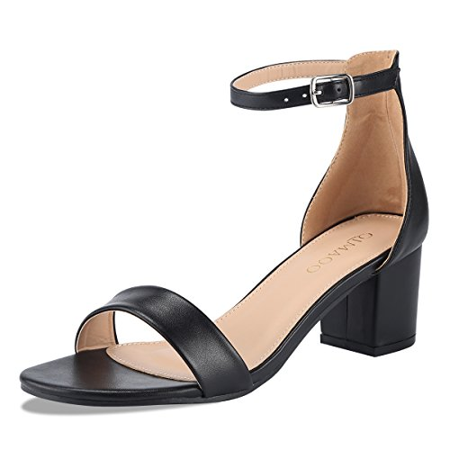 Qimaoo Damen Pumps 7cm High Heels Elegant Abendschuhe Sandalen Sommer Schuhe mit Absatz, Gr.- 40 EU, Schwarz-klassisch