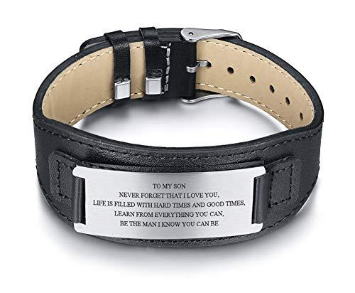 VNOX Edelstahl an Meinen Sohn/Vater,BF/Ehemann Courage Inspirational Wristband Lederarmbänder für Männer,Geburtstagsgeschenke an Sohn BF,Ehemann,Vater