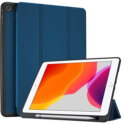 ProCase iPad 10.2 inch 2020 2019 (8th / 7th Generation) Flexible TPU Case with Pencil Holder, Ultra Slim Lightweight Protective Case, for iPad 7/8 -Navy
